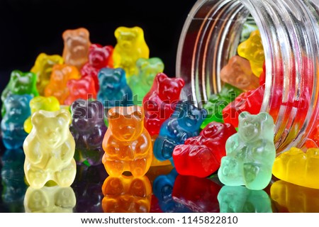 Gummy bears on the beach background Stock foto ©