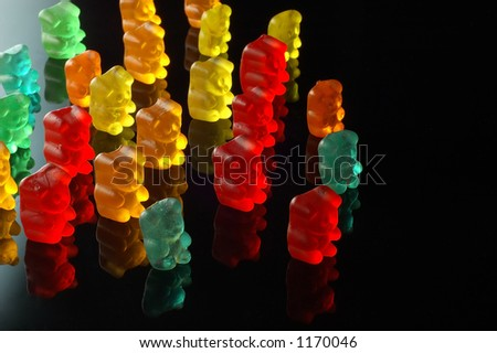 Gummy bears walking -look in profile for more