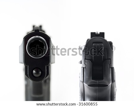 gun aiming and staring into the barrel