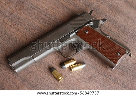 Gun and bullets on a table