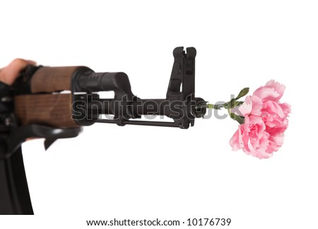"INTEL NOW:""MID TERM ELECTIONS MAY BE CANCELLED AND MIGRATED INTO REPUBLIC ELECTIONS 6 MONTHS FROM NOW"" Stock-photo-gun-and-flower-on-a-white-background-10176739"