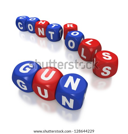 Gun control debate represented with blue and red dice on white background