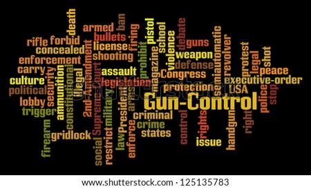 Gun Control Word Cloud on Black Background