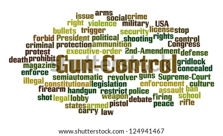 Gun Control Word Cloud on White Background - stock photo