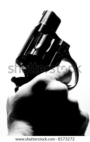 gun in the hand, black and white