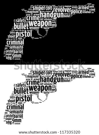 Gun info-text graphics and arrangement word clouds concept. Very large file.