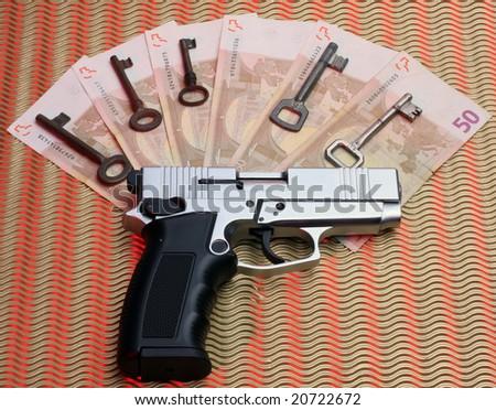 gun keys and money