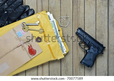 Gun money envelopes are shown the concept of special agent