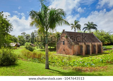 Gun Powder Storage building (1778) of Fort New Amsterdam (1734) on the riverbank where the Commewijne River and Suriname River meet, near Paramaribo, Suriname, South-America #1047643513