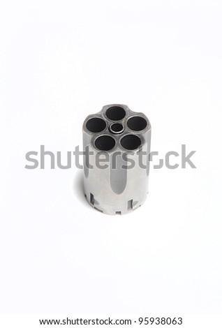 Gun revolver cylinder unloaded - stock photo