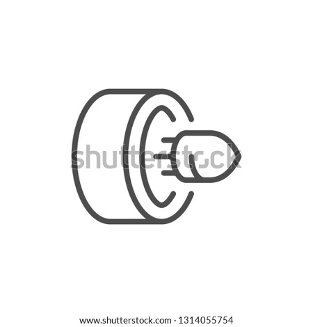 Gun shot line icon isolated on white