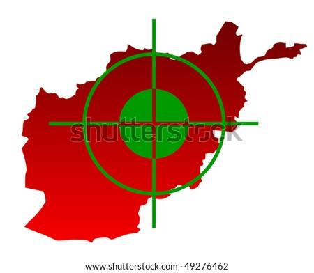 Gun sight over top of map of Afghanistan isolated on a white background.