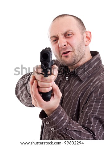 Gunman ready to shoot, isolated on white