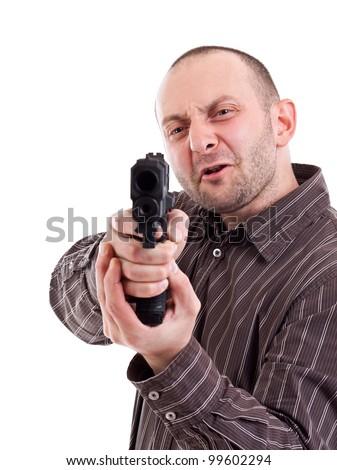 Gunman ready to shoot, isolated on white