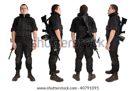 Gunner with the machine gun from the different sides. Isolated on white.