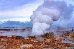 gunnuhver geothermal area in reykjanes peninsula Iceland .