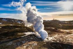 Gunnuhver geothermal area, Reykjanes peninsula, Iceland Aerial view