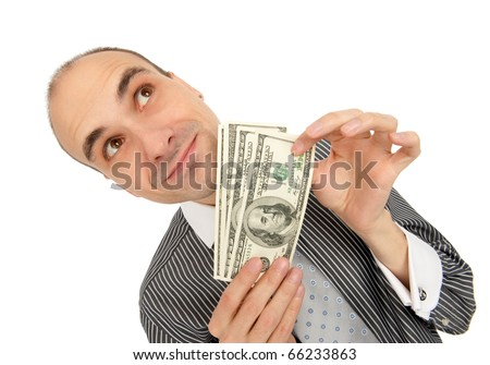 gunny businessman Holding Money - stock photo