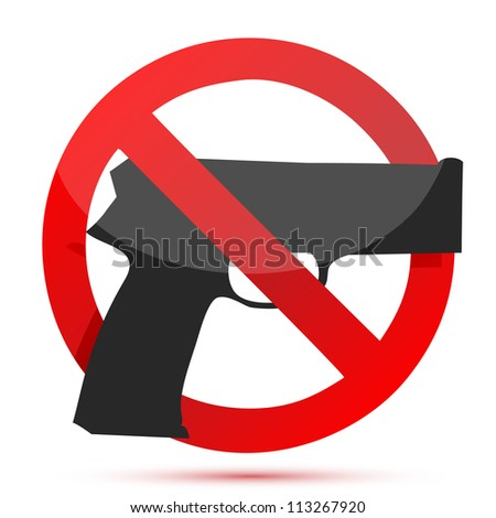 Guns are prohibited sign illustration design over white