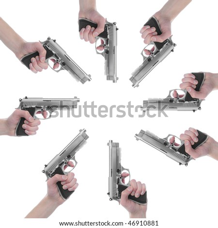 Guns isolated on white background pointing towards center of frame.