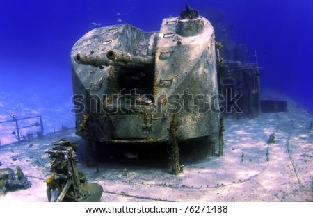 Guns on a sunken shipwreck in Cayman Brac