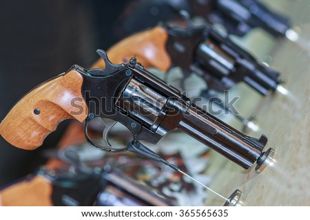 Guns on the counter. Firearms and security