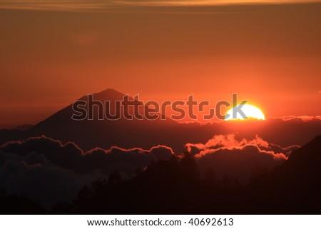Gunung Agung (Volcano) Bali. View from Rinjani (Volcano) Lombok.