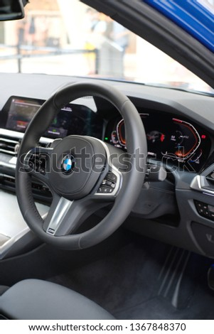 Gurney Paragon Penang, Tian Siang Premium Auto Roadshow, Malaysia - April6, 2019: The Metallic Blue All new BMW 3 series 330i G20 model. One of the Best 3 series ever produced.  #1367848370