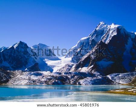 Gurudongmar Lake in North Sikkim Himalayas at 17,400 feet.