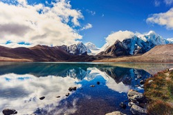 Gurudongmar lake  in North Sikkim, one of the highest altitude lakes in the world, at an altitude Aprox:   17800 Ft, Sikkim, India.