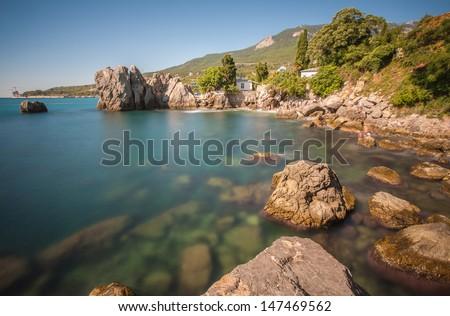 Gurzuf and Adalari mountain. Crimea. Ukraine - stock photo