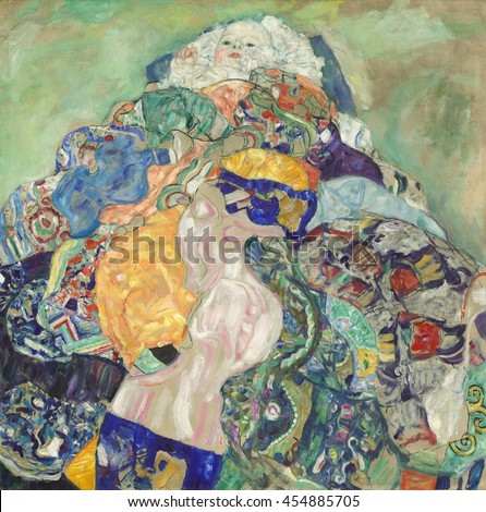 Gustav Klimt, by Baby (Cradle), 1917-18, Austrian painting, oil on canvas. Klimt was an Austrian symbolist painter and one of the most prominent members of the Vienna Secession movement before World