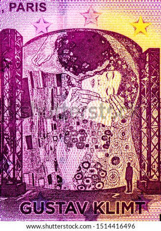 Gustav Klimt: The Kiss. world-famous artists on Euro 0 Lumieres Paris 2018 banknote. French Fancy polymer money. Applied Currency Concepts. Atelier Des Lumieres PARIS. Banknotes. Collection