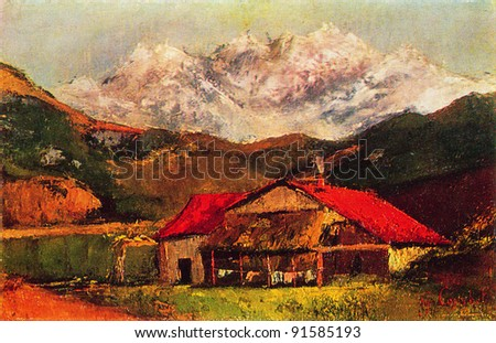Gustave Courbet (1819 - 1877) A Hut in the Mountains. 1870 s. Pushkin Museum of Fine Arts. Reproduction of old postcards, USSR, circa 1983