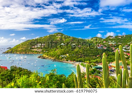 Gustavia, Saint Barthelemy skyline and harbor in the Caribbean.