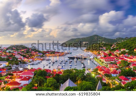 Gustavia, Saint Barthelemy skyline and harbor in the West Indies of the Caribbean.
