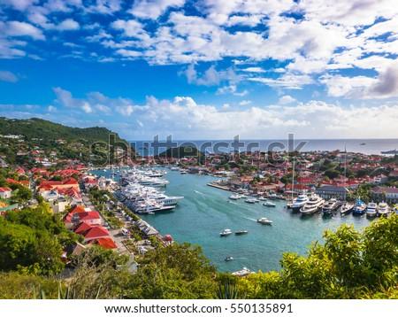 Gustavia, Saint Barthelemy skyline in the Caribbean.