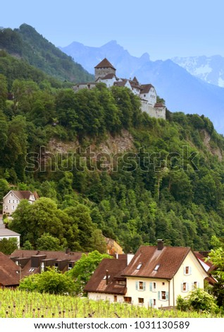 Gutenberg Castle in Vaduz, Liechtenstein. This castle is the palace and official residence of the Prince of Liechtenstein