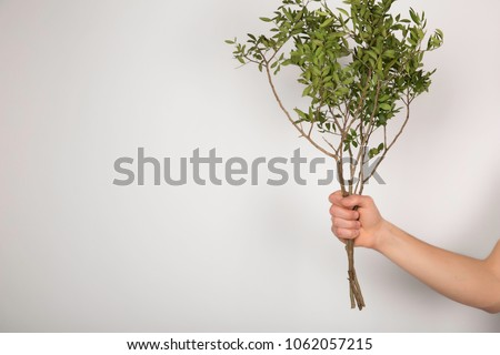 Guy holding a tree branch on a white background.