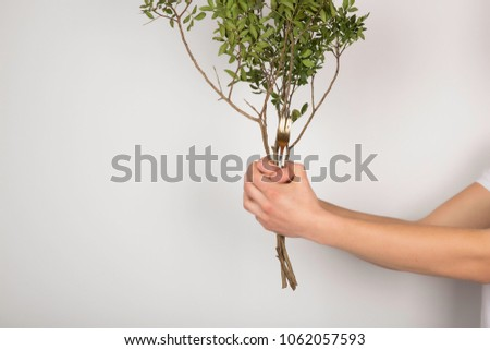 Guy holding a tree branch with a fork on a white background.