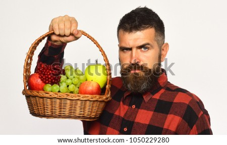 Guy holds homegrown harvest. Farming and autumn crops concept. Man with beard holds basket with fruit isolated on white background. Farmer with strict face presents apples, grapes and cranberries #1050229280