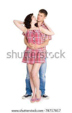 Guy hugs the girl he loved back. Isolated on white.