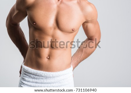 Guy is demonstrating trained torso