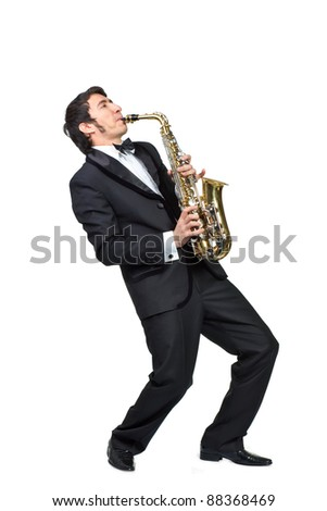 guy playing the saxophone over a white background