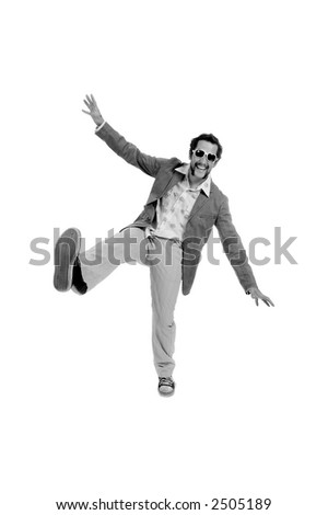 guy standing funny with one leg in the air on-white