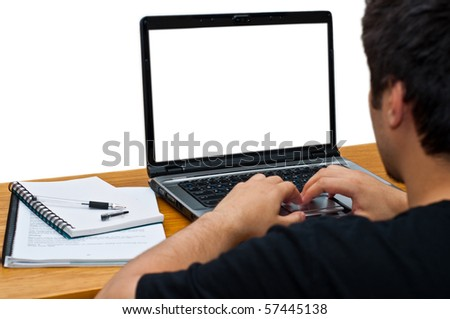 guy using laptop isolated on white