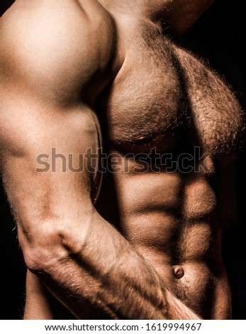 Guy with beautiful torso. Sexy man, athletic caucasian. Ab, six pack. Muscular man, male naked, torso man. Sport man, bodybuilding, fitness. Muscular body, naked torso.