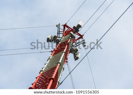 Climber on the self support cell tower Images and Stock