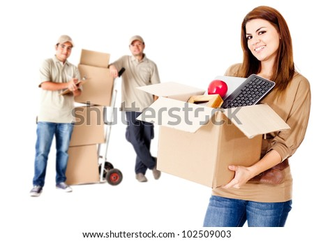 Guys helping a woman to move house - isolated over white