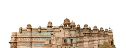 Gwalior Fort isolated on white background. It is a hill fort near Gwalior, Madhya Pradesh, central India.